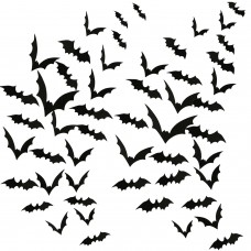 Aneco 120 Pieces Scary Black Bats Decal 3D Black Bats Stickers Wall Decals for Home Decor Or Halloween Party Supplies, Assorted Size