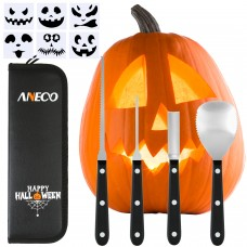 Aneco Professional Halloween Pumpkin Carving Tool Kit Stainless Steel Pumpkin Carving Tool for Halloween Jack-O-Lanterns with 6 Pumpkin Carved Stickers and Storage Bag