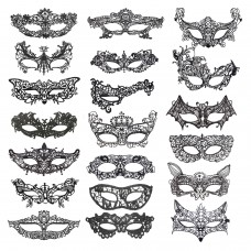 Aneco 20 Pieces Lace Mask Masquerade Venetian Eyemask Halloween Sexy Woman Lace Mask for Halloween Masquerade Carnival Party Costume Ball, Black