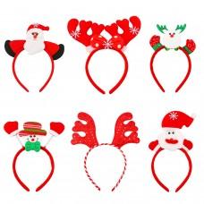 Aneco 6 Pieces Christmas Headband Reindeer Antlers Headband Santa Headbands for Christmas Holiday Costume Party