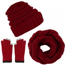 Aneco Winter Warm Knitted Scarf Beanie Hat and Gloves Set Men & Women's Soft Stretch Hat Scarf and Mitten Set,Burgundy