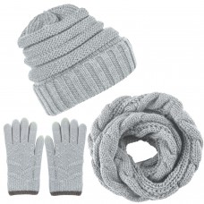 Aneco Winter Warm Knitted Scarf Beanie Hat and Gloves Set Men & Women's Soft Stretch Hat Scarf and Mitten Set,Light Grey