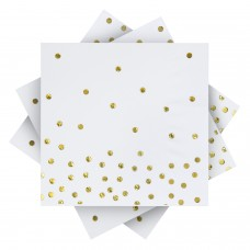 Aneco 60 Pack White with Gold Napkins Disposable Dots Paper Napkins Cocktail Napkins with 3 Layers Ideal Rose Gold Party Decorations Birthday Party Supplies, 5 by 5 Inches